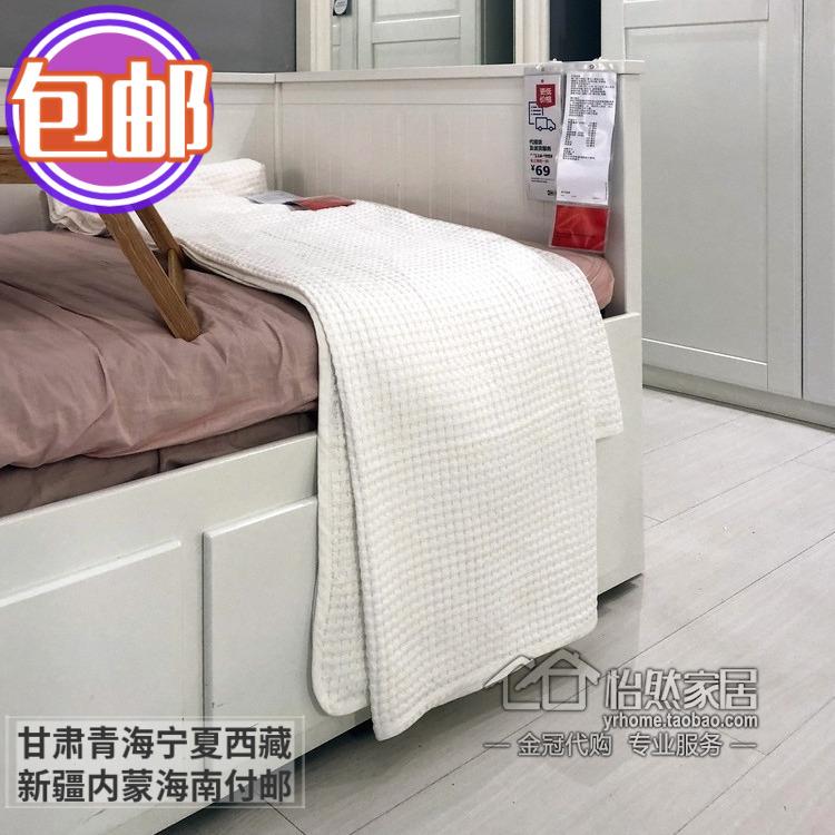 Khăn trải giường Wallerd 150 230x250cm màu xanh bột màu xám trắng màu be mua trong nước IKEA - Trang bị tấm
