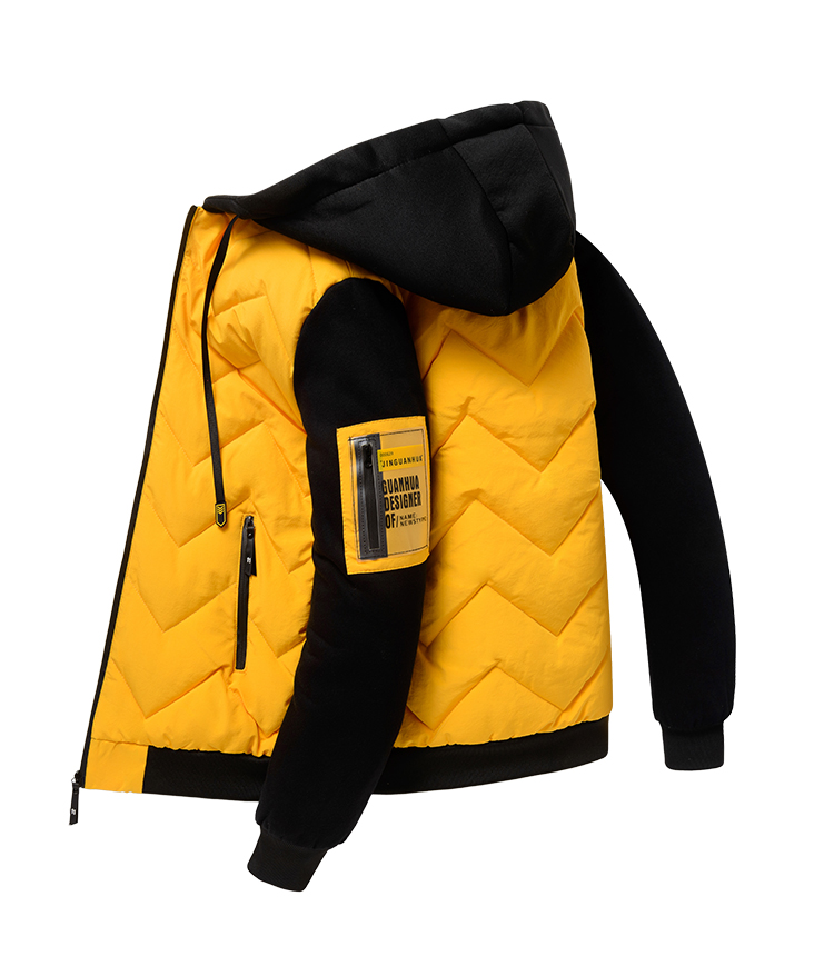 2020 new winter down jacket men's hooded thick winter coat men's jacket knitted sleeves down cotton clothing trend men 36 Online shopping Bangladesh