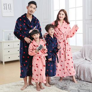 亲子睡袍冬季全家情侣装一家三口装秋季家庭睡衣母女儿童长袖浴袍