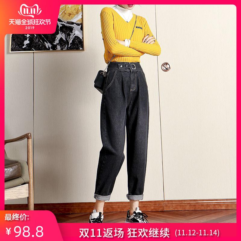 Талия джинсы женский осенний зима 2019 новый прямо свободный старый отец брюки тонкий значительно выше черный редис харлан брюки 604544976764
