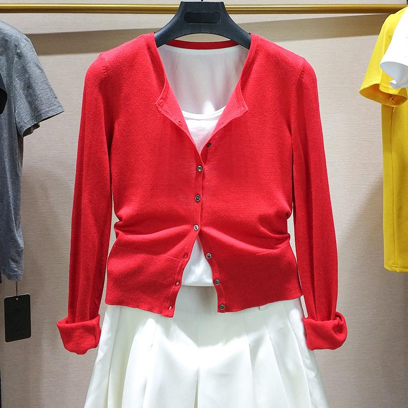 希哥弟思正品开衫外套2020年夏季新款红色专柜外搭针织短款女装