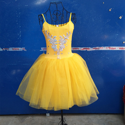 Yellow ballet dresses, costumes, women's dancers, gowns, sling, long skirts, blue skirts, and blue shirts.