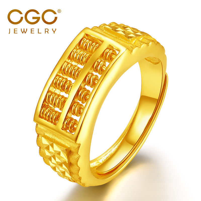 USD 754.30] CGC Silver gold ring male 999,000 gold wishful thinking ...