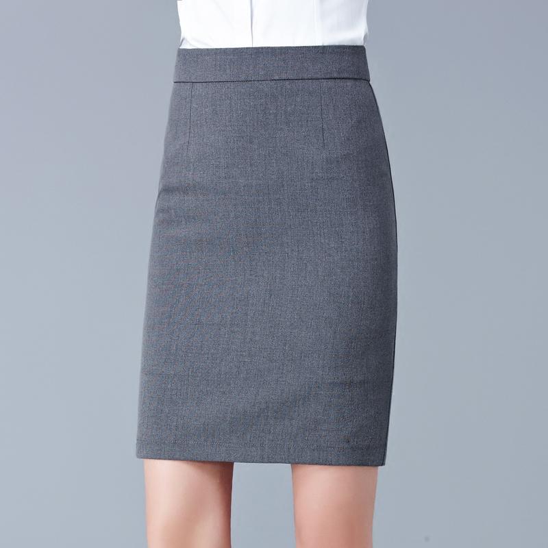 半身裙春女2018新款灰色西装包臀裙职业正装高腰裙子修身一步短裙[优惠20元包邮]