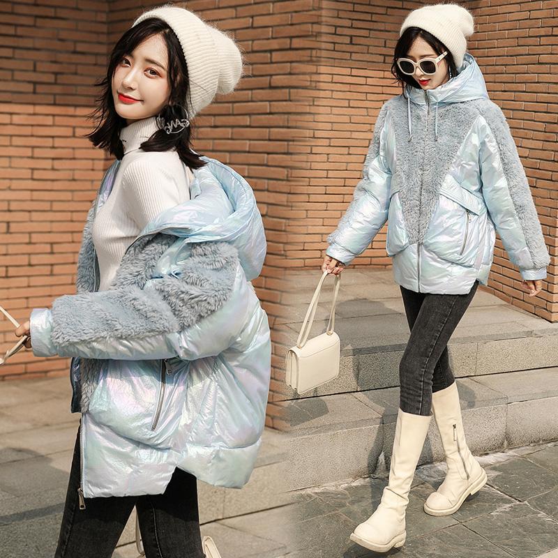 冬季韩版外套亮面加厚短款女棉衣2019新款棉服拼接宽兔毛学生棉袄