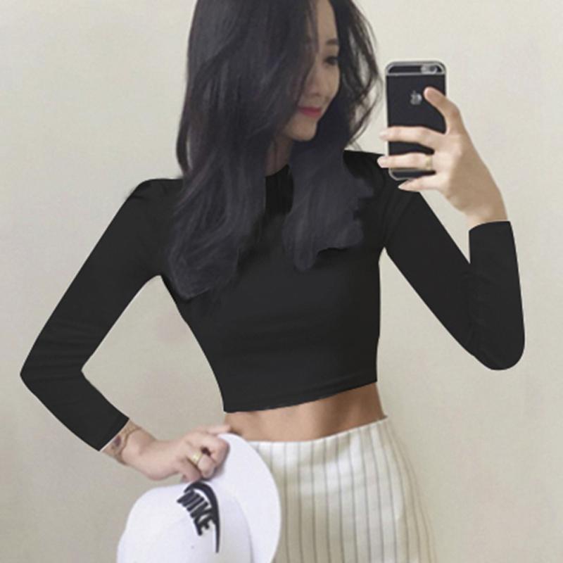 露脐上衣半高领高腰短款黑色漏肚脐白色长袖t恤紧身秋冬打底衫女