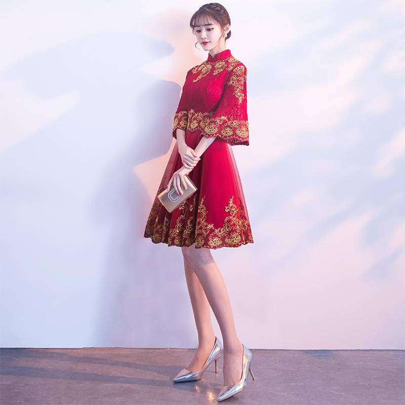 2018 new spring toast clothing bride red Chinese cheongsam Chinese ...