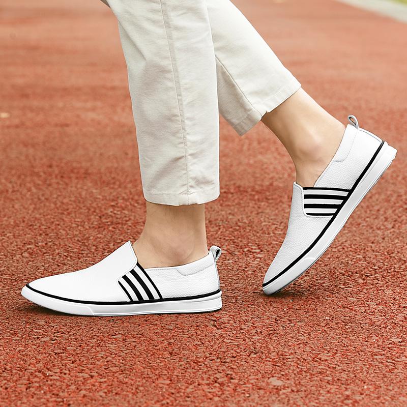 真皮众人层行头皮鞋休闲鞋男士白色脚蹬鞋一面皮软懒人透气牛皮
