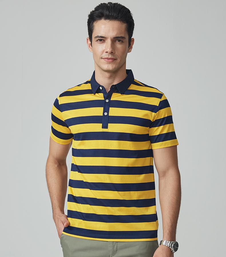 Chín động vật chăn nuôi nam ngắn tay T-Shirt 2018 mùa hè mới sọc ve áo T-Shirt kinh doanh bình thường thoải mái POLO áo sơ mi nam áo thun nam có cổ