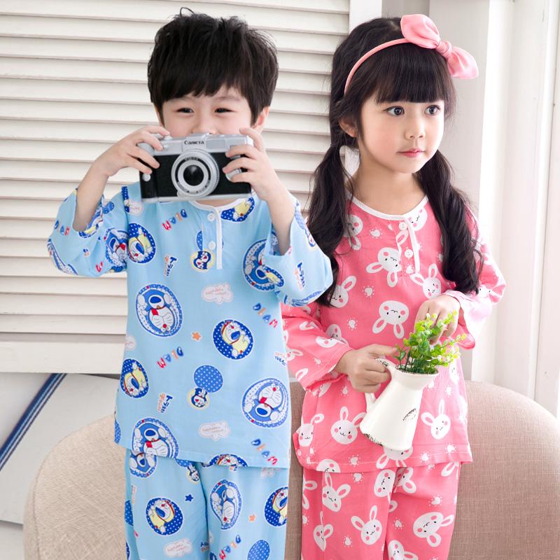 儿童睡衣夏季薄款长袖家居<font color='red'><b>空调</b></font>服