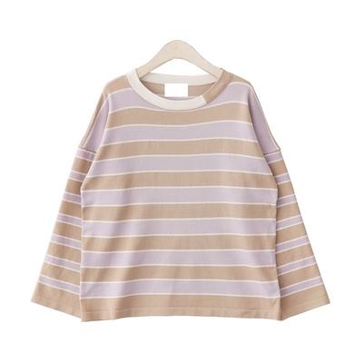 秋季新款 小清新撞色条纹宽松针织衫女薄款圆领打底上衣女