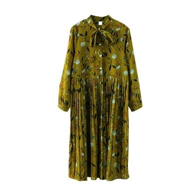 春季新款韩版宽松中长款百褶裙系带碎花印花长袖雪纺连衣裙秋