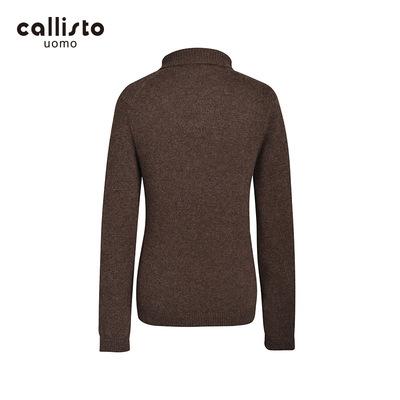 CALLISTO Kallister mùa thu và mùa đông len sợi ve áo cao cổ áo len màu nâu nam FHKNW145BR