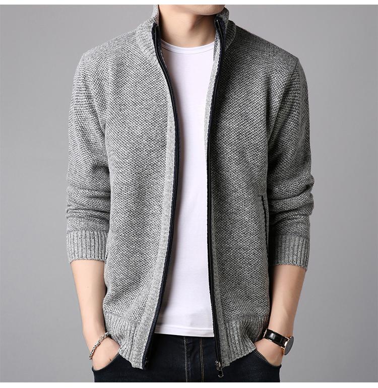 纯羊毛男士针织开衫羊毛衫 图7