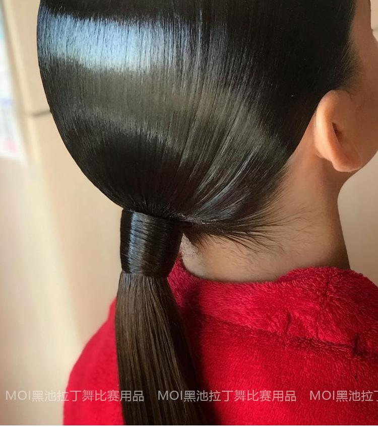 拉丁舞盘髮专用皮筋双头带钩专业造型国标舞比赛梳头弹力带勾髮圈详细照片