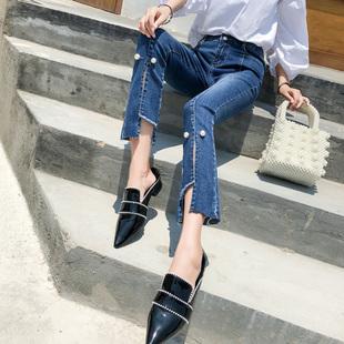 薇之典时尚春季时尚喇叭九分牛仔裤