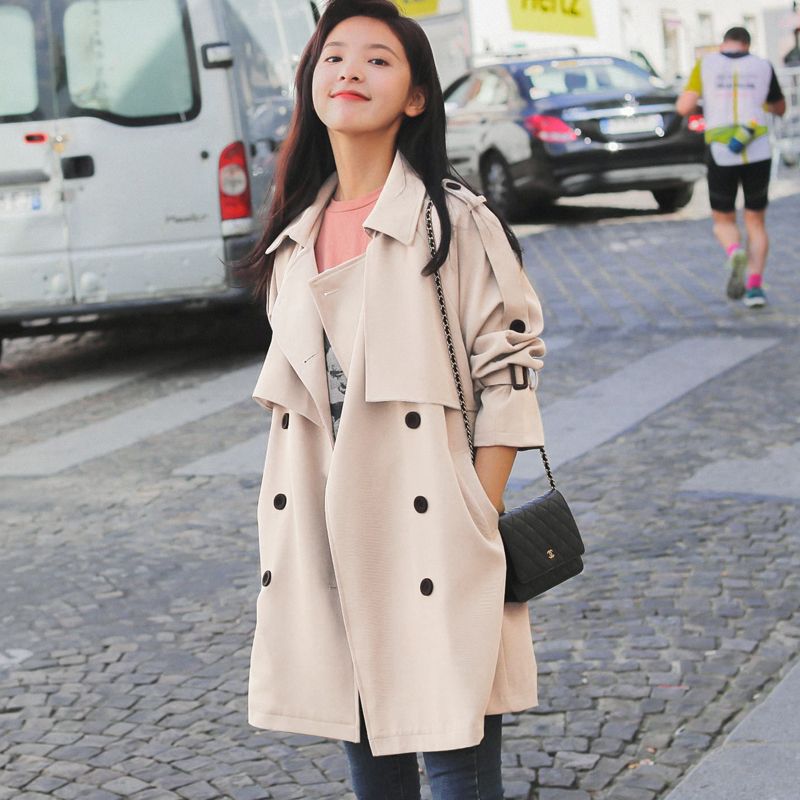 Beige windshield women's medium-length version of the small 2021 new spring and autumn temperament coat short and medium jacket