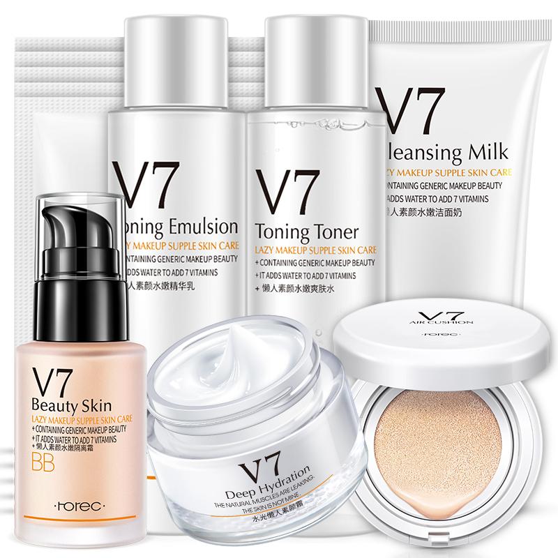 【拍4件第2-4件0元】韩婵v7护肤品套装组合女化妆品正品美白补水