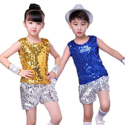 Girls Jazz Dance Costumes Sequins Boys Hip-hop Modern Dance Performance Costume Boys Stage Costume Children Jazz Dance Costume