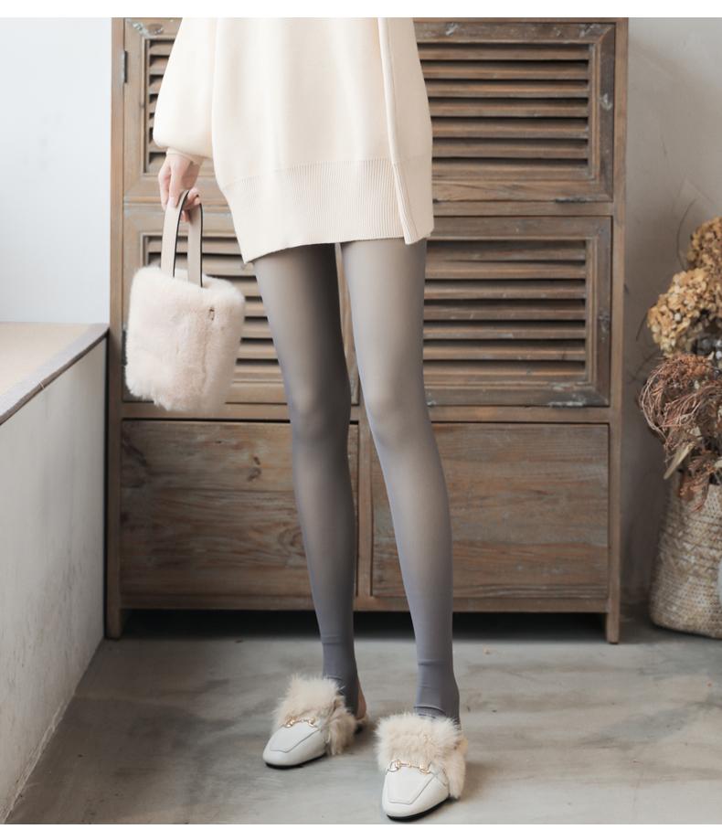 高腰收腹内搭裤女黑色外穿紧身保暖加绒一体三排扣提臀塑形裤秋冬详细照片
