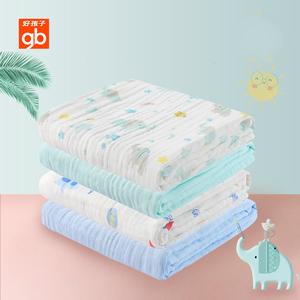 gb好孩子婴儿浴巾纯棉纱布宝宝浴巾春夏款新生儿童浴巾盖毯被2条