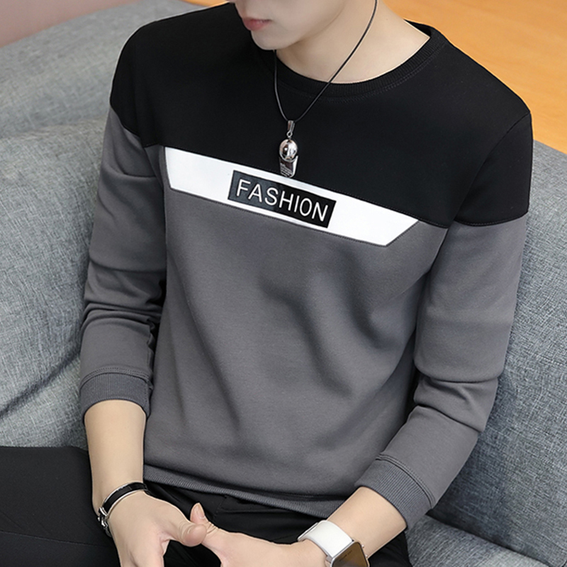 Men's T-shirt New Tide brand Cotton autumn clothing men's bottoming shirt Korean version of the trend of handsome clothes long-sleeved sweater