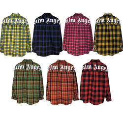 New autumn and winter Palm Palm Angel Angels plaid large letter printing long-sleeved shirt PA men and women couples