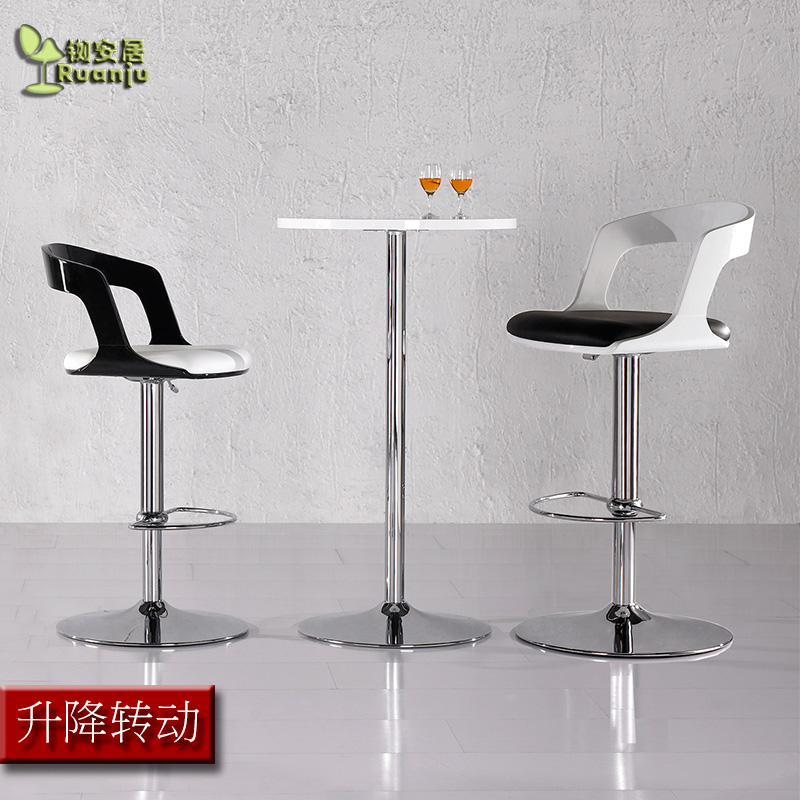 Modern Fashion Lifting And Turning Bar Chair Leisure Wooden High Stool