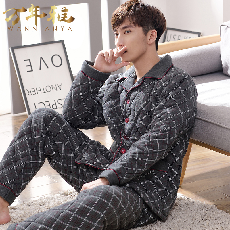 Autumn and winter pajamas cotton padded home service men s cotton plus  fertilizer to increase the size 27226a1c5