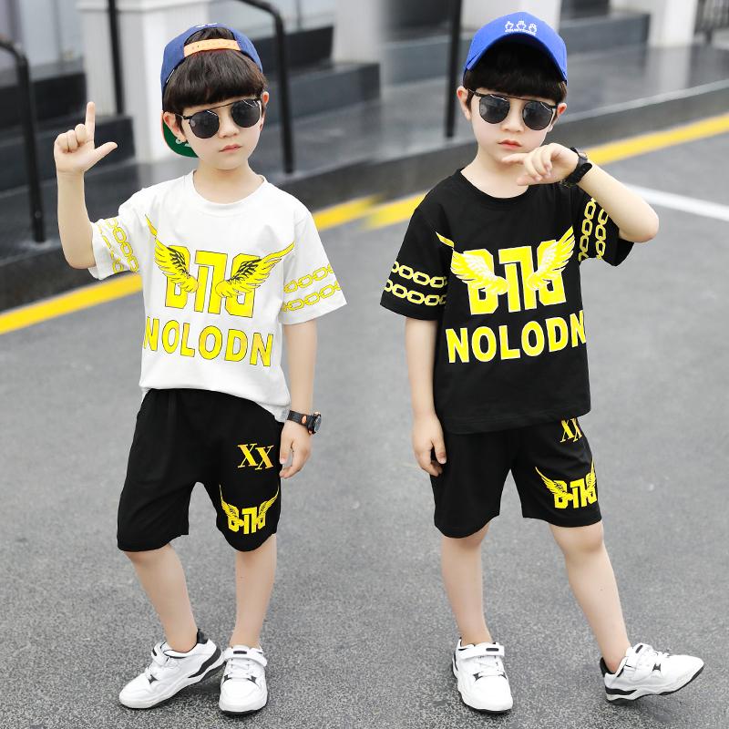 童装男童夏装套装帅气2020新款儿童男孩短袖牛仔裤两件套韩版洋气