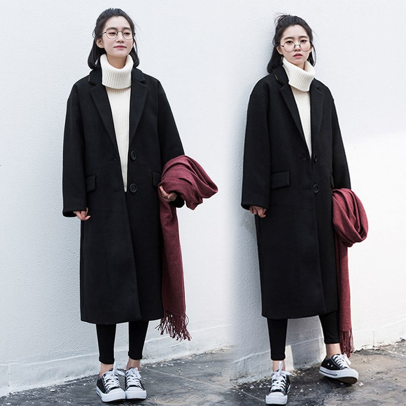 2019 autumn/winter pop coat women's new korean style medium-length fur coat loose over the knee-jerk student Nizi