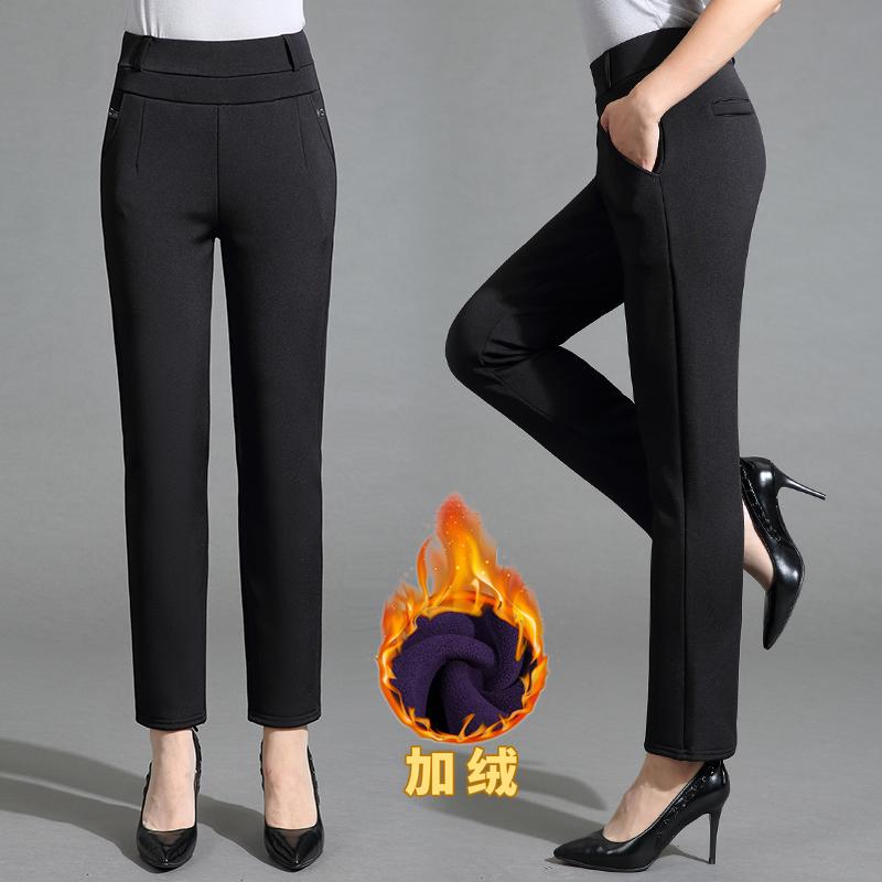 。冬季nv中年女装40冬天长裤45一55到50多岁穿妈妈松紧腰加绒裤子