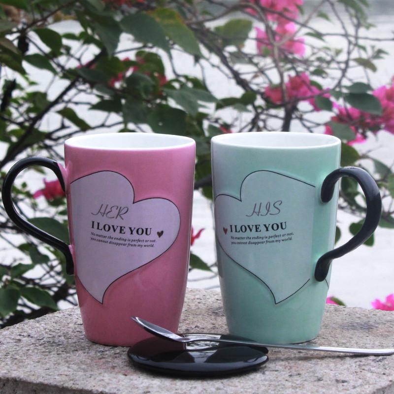 创意可爱陶瓷杯子马克杯带盖勺韩版女学生情侣咖啡牛奶杯水杯家用-给呗网