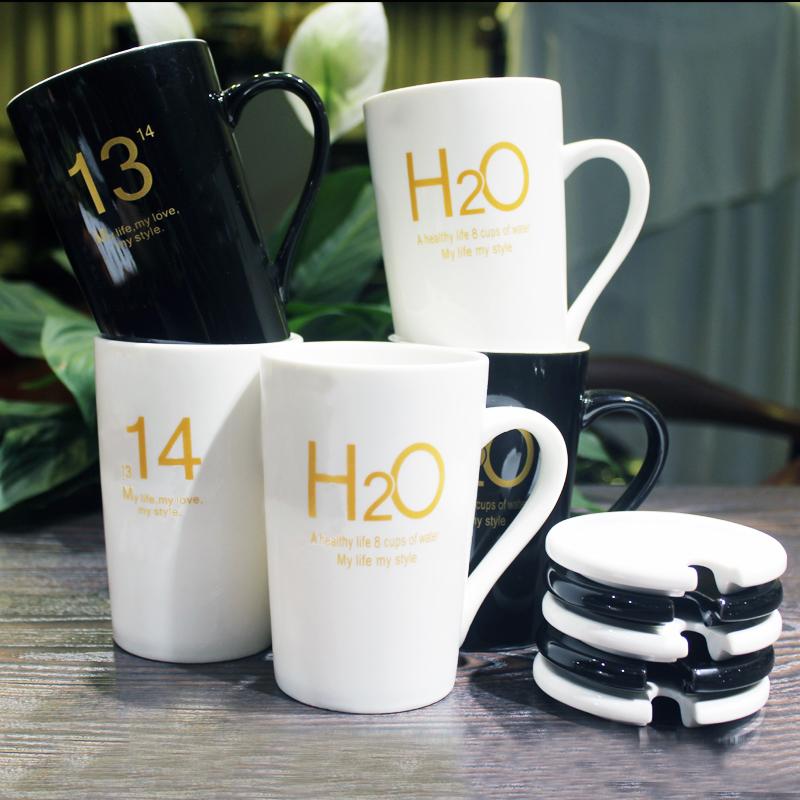 大容量1314一对情侣水杯子办公室陶瓷马克杯带盖勺 H2O喝水咖啡杯
