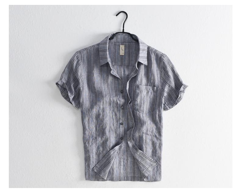 Han-Flo Scottish-woven striped linen short-sleeved shirt men's slightly loose literary retro linen shirt men's thin 60 Online shopping Bangladesh