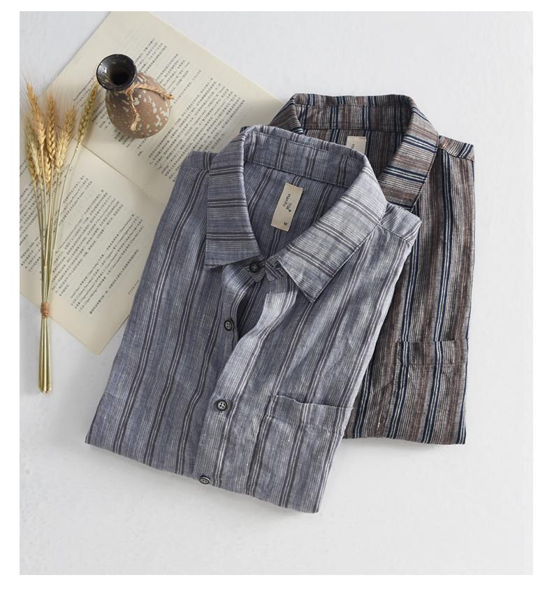 Han-Flo Scottish-woven striped linen short-sleeved shirt men's slightly loose literary retro linen shirt men's thin 42 Online shopping Bangladesh