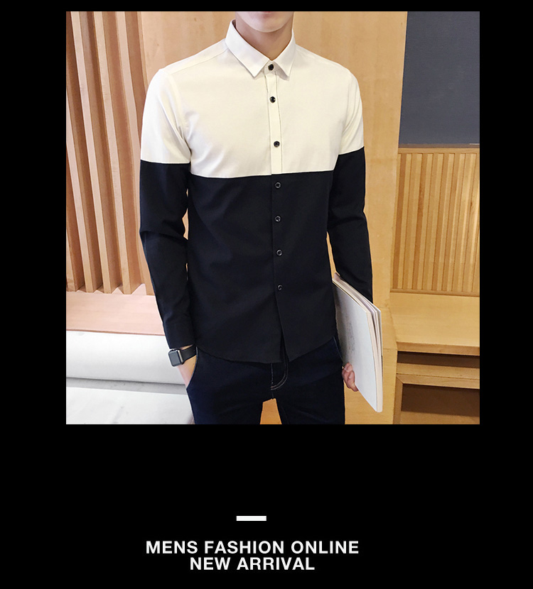2017 Men's Fashion Shirt British Fashion Color Patchwork Slim Square Collar Men Long-Sleeved Fit Shirt Single-Breasted Shirt 4XL 9