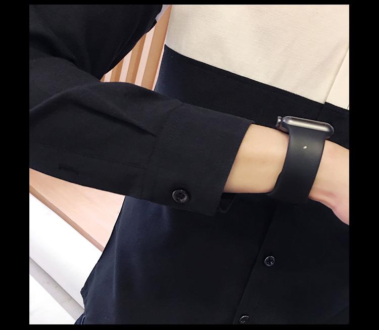 2017 Men's Fashion Shirt British Fashion Color Patchwork Slim Square Collar Men Long-Sleeved Fit Shirt Single-Breasted Shirt 4XL 14