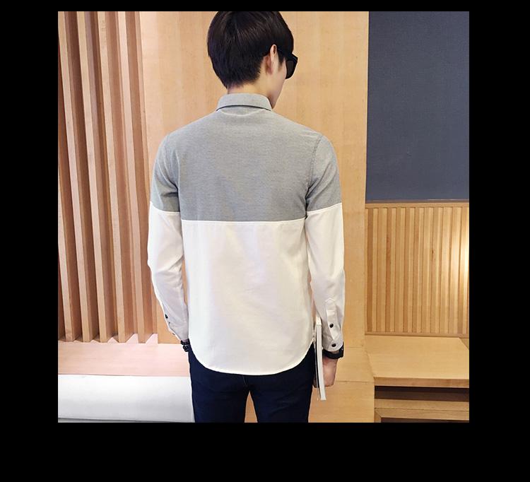 2017 Men's Fashion Shirt British Fashion Color Patchwork Slim Square Collar Men Long-Sleeved Fit Shirt Single-Breasted Shirt 4XL 32