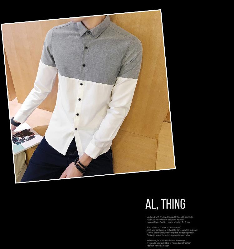 2017 Men's Fashion Shirt British Fashion Color Patchwork Slim Square Collar Men Long-Sleeved Fit Shirt Single-Breasted Shirt 4XL 38