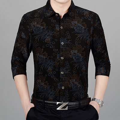 2019 spring and autumn new men's long-sleeved shirt middle-aged business milk silk print men's free hot shirt