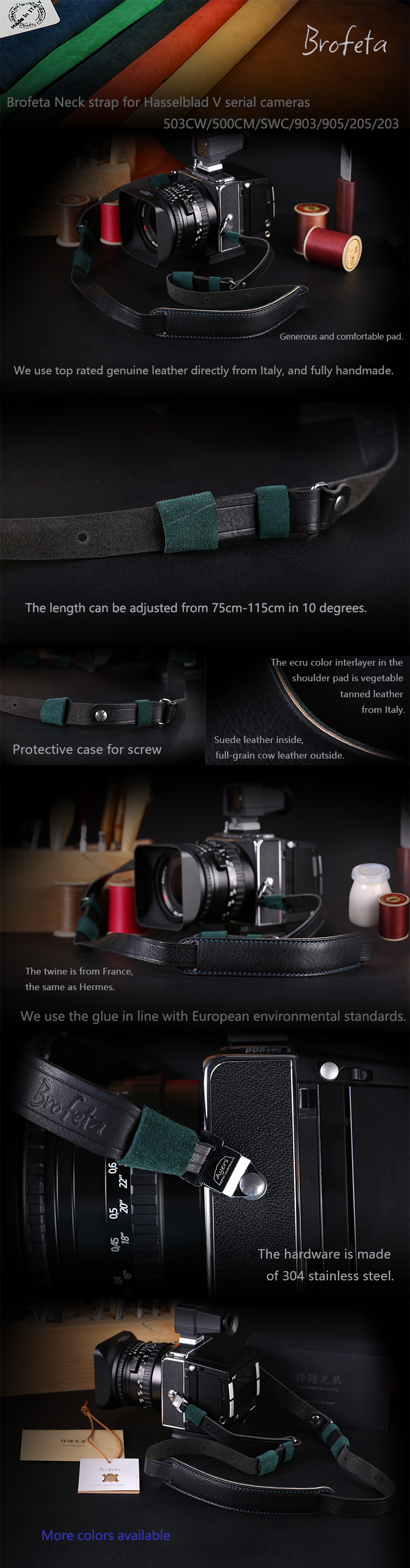 Details about Brofeta neck strap for Hasselblad 503CW 500C/M SWC/M SWC  903SWC 203FE 205 905