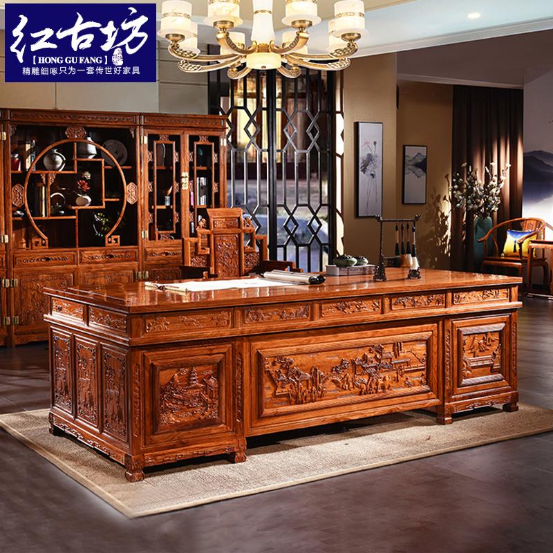 Красный Sandalwood деревянного hedgehog комбинации студии полки книги таблицы стола henryi ormosia мебели твердого деревянного красный новый Китайский старый панель стол