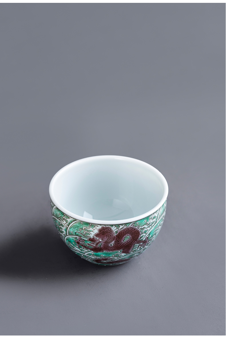 Porcelain kung fu dragon carp on the sea green master cup hand - made of high - end tea cups master cup orphan works sample tea cup
