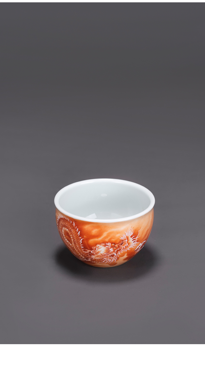 Cylinder cups porcelain jingdezhen pure hand - made alum red dragon kung fu masters cup ceramic cup of tea cups