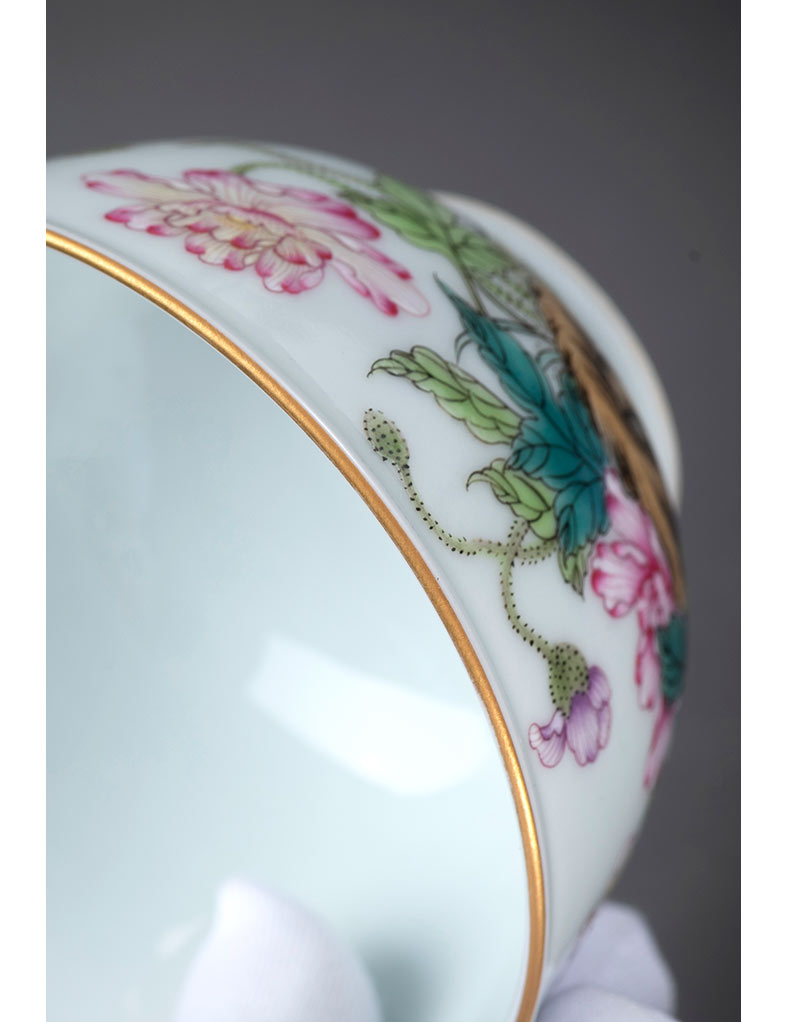 Jingdezhen porcelain on kung fu manual hand - made master cup pastel corn poppy sample tea cup personal single CPU archaize tyres