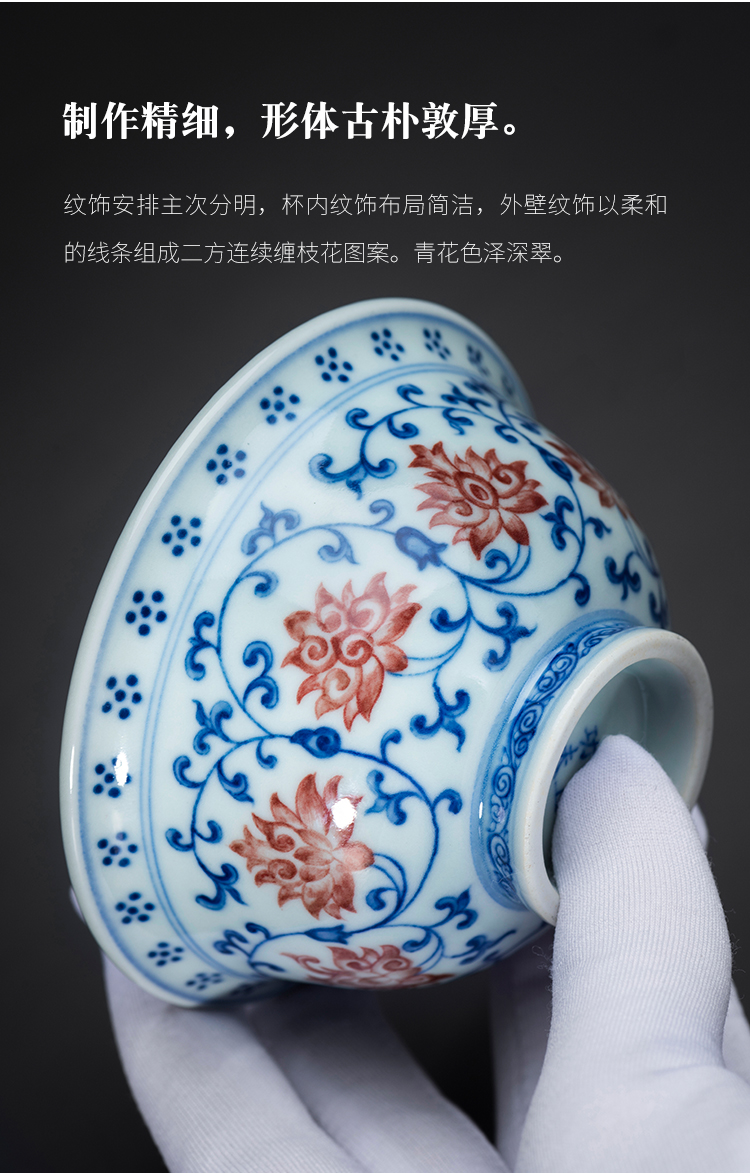 Blue - and - white porcelain on kung fu yongle pressure hand cup of jingdezhen ceramic cups sample tea cup masters cup gift collection
