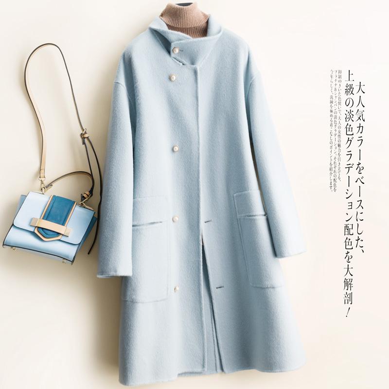 Mùa thu và mùa đông mới giữa hai chiều dài áo khoác len phụ nữ áo len lỏng đứng cổ áo đơn giản áo len lông - Áo khoác ngắn