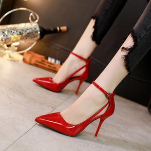 尖头高跟女细跟中空一字扣带单鞋女
