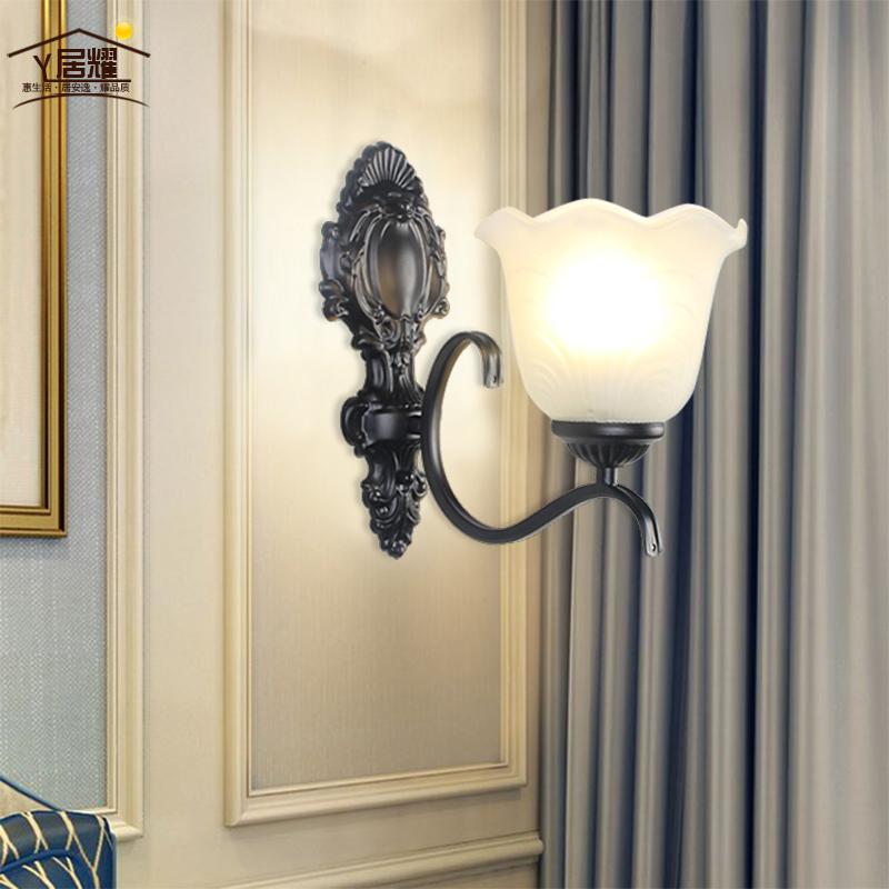 欧式过道床头灯铁艺a过道简约壁灯客厅墙卧室灯具背景艺术美式创意